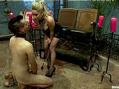 Stunning blonde mistress ties two guys up. Then she whips them and toy their asses with a strap-on. These two guys also suck each others dicks.