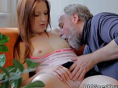 Sveta and her older lover are always ready to spicy up the things. She started to suck his big cock and then took it deep inside her tight shaved slit like a champ.