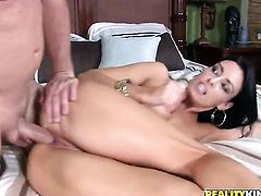 Brunette with big melons and clean cunt takes dream cumshot
