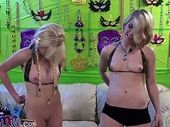 Two titless blondes share a cock after playing with each other's cunts