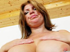 Czech cougar Bohunka has more to offer then a big pair of boobs. She plays with her big breasts in front of the camera and then spreads her pussy lips, offering us a perfect view of her snatch. Curious if she will insert her fingers or a sex toy in her vagina?