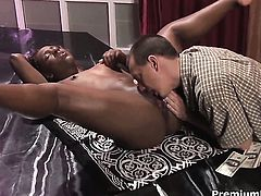 Miss Psexy tries her hardest to make hard cocked dude bust a nut with her mouth