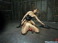 Sizzling dominatrix Isis Love is having fun with curvy blonde Angel Cassidy. Isis binds Angel and makes her eat her cunt before she fucks her with a strapon.