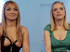 Hot blonde babe gets her pussy wired and ass stuffed with an electro dildo by stunning Lea Lexis. Then Penny also gets her hips clothespinned.