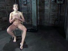 Adorable brown-haired girl Nika Noire gets bound by Sgt. Major in an underground. The dude plays with the chick's pussy and tortures her.