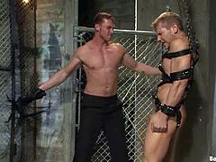 Handsome poofters Alex Adams and Connor Maguire are in a jail. The dominator binds his buddy and stuffs his ass with a toy. Then he mouth fucks his slave and tortures him before drilling his tight butt.