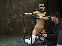 Brunette girl in stockings gets tied up. She also gets her tits tortured with a bondage device and claws. Later on she also gets her pussy toyed.