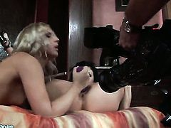 Blonde chick Brandy Smile with massive jugs gets her vagina stretched by lesbian Aletta Ocean