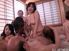 Get a load of this hot scene where these busty Asian hotties are fucked in an orgy with old men as you watch.