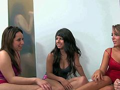 Young good looking babes with natural boobs Karlie Montana, Samantha Ryan, Ella Mmilano, Rosalie Ruiz, Layla Rose, Bailey Blue and Adrianna Luna get together in bedroom and have some fun.