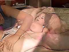 Sexy BBW babe sucks her own tits before getting them creamed.