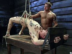 Colby gets tied up and tortured with clothespins and electricity. After that he sucks big cock and gets rammed in the ass by Trent.