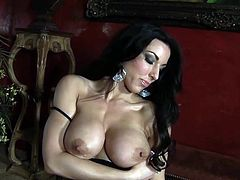 Insolent Brianna Jordan is a hot milf who loves posing when masturbating so hard