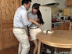 Nice Japanese girl gets undressed in the kitchen. She lies down on a table and gets her vagina licked. Later on she gives a blowjob and gets fucked in her tight vagina.