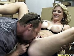 Blonde with giant breasts and trimmed beaver shows oral sex tricks to hot blooded man with desire
