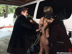 Slutty blonde Harmony is having fun with Princess Donna Dolore and some guy outdoors. She lets them finger her cunt and then gets pulled by the nipples and fucked with a dildo.