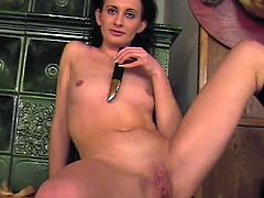This mature amateur makes her first sex tape. She reveals her bare naked body and takes a toy to masturbate with. She gets so horny that she's also toying her ass hole.