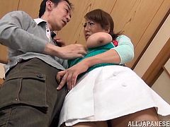 This brunette Japanese whore bends over and then her man licks her from behind. she has a massive pair of tits and he loves to suck on them. Watch as he fucks her from behind and finger her old sexy pussy.