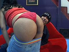 Wanna Cumswalla has underneath those red panties? Well, a big black booty! What else could you expect finding here at Her Thick Black Ass. We love our big butts black whore and this one has a nickname that she surely earned it. Stay with these two and find out if she's a cum swallow or if she likes it in the ass.