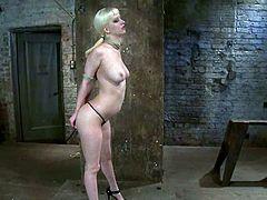 Nasty blonde girl with pigtails gets tied up and choked with ropes by her master. Later on she also gets face fucked and toyed.
