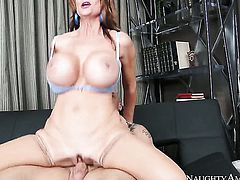Deauxma with massive knockers and clean snatch does her best to make horny guy Derrick Pierce cum