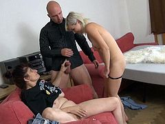 Luscious black haired granny gives blowjob to one brutal guy and then cute blondie joins them. Then that old whore gets her flabby muff eaten.