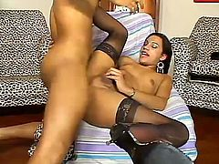 This shemale is horny and she is starving for huge stiff rod in her tight ass. She sucked his long dong before he fucked her deeply.