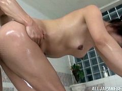 Soaped up and so fucking slippery, this Japanese mature is up for a very hot bathing experience. She's with her man that's anxious to fuck her pussy and fill her up with semen. The guy bends her over and begins to drill her pussy until he can't hold it anymore and cums deep inside her vagina!