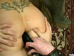 BDSM lesbian foursome in action! Watch how those insatiable busty MILFs lick each other's pussies and poke their asshole with big plastic butt plugs.