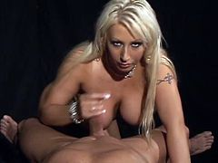 Sweet blonde with big tits makes guy cum fast
