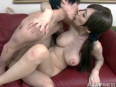 A gorgeous Japanese slut sucks on a hard cock and then gets it shoved balls deep into her fuckin' gash, check it out right here!