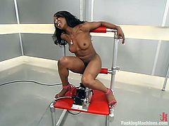 This lusty and charming ebony girl Stacey Cash gets naked and starts making some love on a fucking machine! Oh, damn, she is so fucking horny and lusty!
