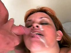 Dirty Redhead Mature Slut Blowing Two Big Hard Cocks