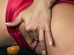 Gitta Szoke with giant boobs and clean bush cant live a day without dildoing her snatch