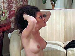 Tall famous fucks Evan Stone with long rock hard cock and awesome oral skills licks busty Raven Alexis to intensive screaming orgasms and drills her twat balls deep on couch.