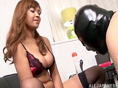 Take a look at this hot scene where this busty Asian babe fucks this guy silly with a strapon after humiliating him in this femdom clip.