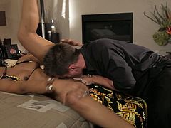 No man cann resist her lovely pussy. Sex-staved brunette temptress spreads her legs wide to let her lover get a taste of her sweet pussy. Horny dude can't decline the offer. He licks her pussy with great enthusiasm like a true cunt licker.