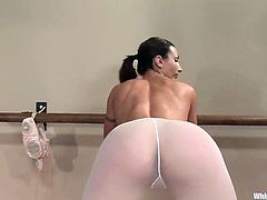 Sasha Lexing, Wenona and one more horny bitch are playing BDSM games in a ballet studio. The students get bound by their teacher and undergo humiliation before getting fucked with a strapon.
