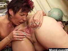 These filthy fat moms lick each others hairy cunts and then they share a long dildo. They spread their loose cunts and touch each other firmly anywhere they want.
