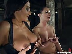 Katja Kassin gets tied up by Sandra Romain. Later on Katja gets her tits tortured with electricity and pussy toyed rough. In addition she gets her body covered with hot wax.