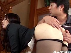 A gorgeous Japanese cutie gets her titties licked and get pussy fingered, then for some reason they put two plungers on her tits.