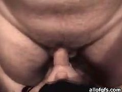 Skanky brunette hooker lies flat on her back. She has got blindfolded. The guy gets on top of her bust thrusting his dick in her mouth. Amateur chick sucks the rod greedily until he cums on her face.