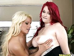 Blonde Holly Brooks and Aurora Rose stars in steamy girl-on-girl action