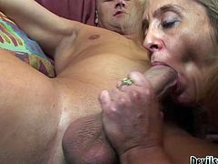 This granny looks very tempting in her sexy fishnet stockings! Sex-starved slut gets down on all fours to let her lover pound her fanny hard. Horny stud b