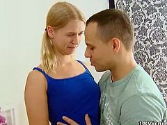 Sveta is a young and sexy blonde and a virgin at that. She is with her man and today she is going to not be a virgin anymore. He removes her top in the bed and sucks her beautiful nipples and tits. They both share passionate moments together in the bed and he lays her down to lick her nipples some more. He gets in between her legs and licks her pussy. She likes that and starts giving him a blowjob. Before long, she mounts his hard cock and rides him, making her no longer a virgin. She fucks him doggie style and finishes him off.