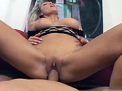 Hot blonde milf Ana Nova pleases her man with a blowjob and a titjob. Then she sits down on his schlong and they have sex in cowgirl position.