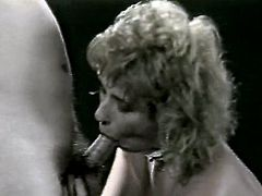 This vintage prostitute wearing black lingerie and white stockings knows for sure how to make your cock jizz at ones. She strips and later kneels down and sucks dick slowly.