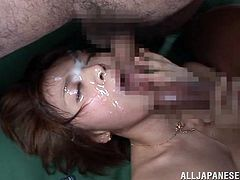 Rika Hoshimi is a a busty Japanese slut who's carving for big, hard dick can't be satisfied by just one cock, she needs at least three. Look at her as she enjoys getting fucked from behind while sucking dick like the bitch that she is. In the end she receives three loads on her face, giving her a nice facial.