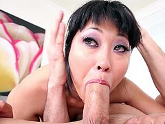 Slutty asian Yuki Mori makes magic with her soft lips during top deepthroat POV oral