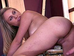 Charlee Monroe is a long haired young beauty that wears nothing by boots in this hardcore scene. Watch lovely babe with small boobs and smooth pussy get her pink hole drilled by hard cocked guy.